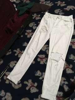BDG High Waist Rise Ripped Jeans White