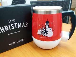 全新 Pacific Coffee Mug 紅色 大肚杯 保溫杯