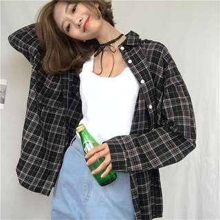 ✨korean ulzzang retro plaid flannel