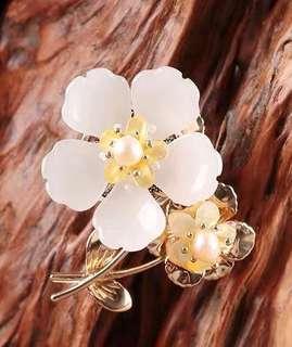 Glass flower brooch