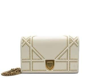 CHRISTIAN DIOR Diorama Wallet On Chain In White Studded Leather