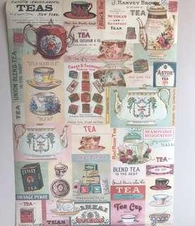 Vintage Tea Design Wrapping Paper/ Wall decor