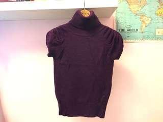 紫色短袖 高領毛衣 肩膀特殊設計 短袖針織毛衣
