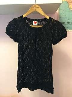 Moss club 專櫃 蕾絲上衣 鏤空蕾絲黑色印花上衣