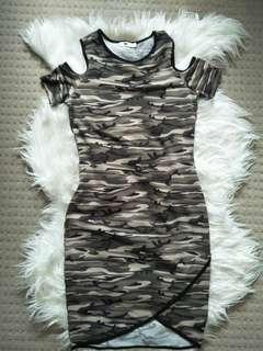 Camo Camouflage Dress open shoulder Tight Bandage dress