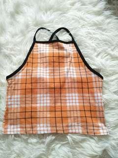 Orange Plaid Crop top cross back