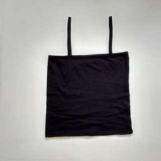 black straight neck cami / spag