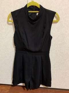 Love Bonito Black High Collar Romper (Size S)