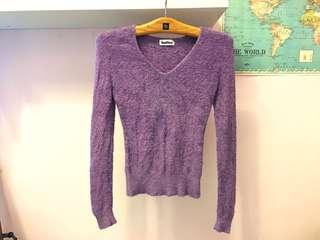 Baiter 專櫃品牌 特殊毛絨針織 非常親膚舒服! 超柔軟長袖上衣 粉紫色毛衣