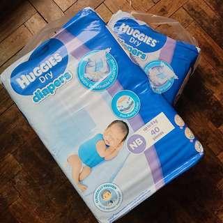 2 packs Huggies Dry Newborn Diapers