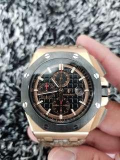 Cheap Steal Promotion Christmas Deal 100% Authentic Full Box And Cert Audemars Piguet Novelty Rose Gold With Carbon Bezel. Beautiful limited pieces!