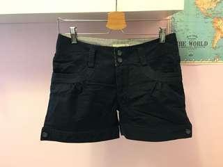 深藍色休閒短褲 短褲 內裡直條紋短款