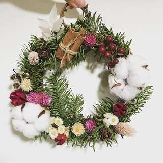 [花好玥圓]諾貝松 諾貝松花圈 乾燥花圈 聖誕樹 聖誕節 聖誕節禮物 裝飾品 乾燥花束 交換禮物 拍照小物 閨蜜禮物