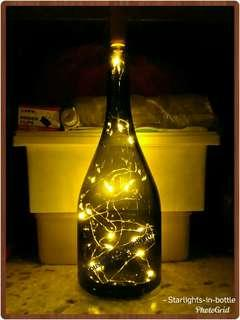 [Ready!] Tall Dark Glass Bottle w/ Warm White Fairy Lights