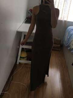 High neck long dress