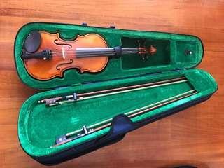 1/8小提琴包琴盒和兩支弓