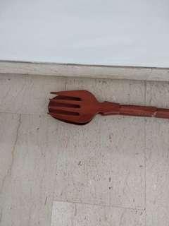 Display Teak Wood 1 metreFork and Spoon ( BN )