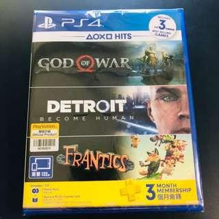 [4in1] God of War & Detroit & Frantics & 連3個月會籍 (3隻GAME)