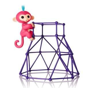 BN Fingerlings Interactive Baby Monkey Pet Playset Toys Purple Jungle Gym + Coral Pink Aimee