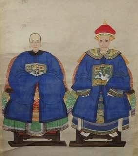 """清代 - 五品白鷴 祖宗夫婦画像 連 """"香港藝術品商會"""" 証書"""