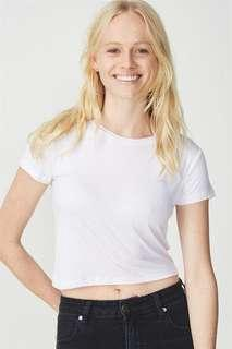 cotton on white cropped top
