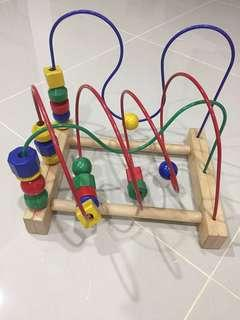 Ikea Wooden Toy Beads & Blocks Roller Coaster