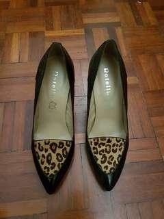 Rotelli Black Shoes with Leopard design