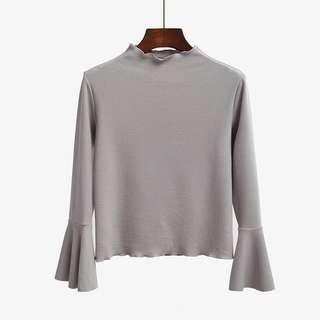 Grey Turtleneck Bell Sleeve Top