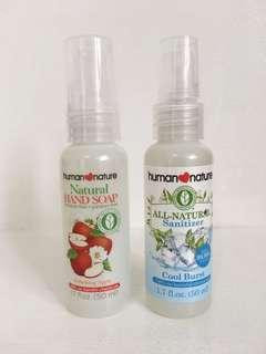 Human Nature hand sanitizer and soap