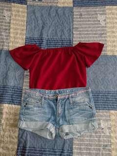 Off Shoulder and Denim Shorts