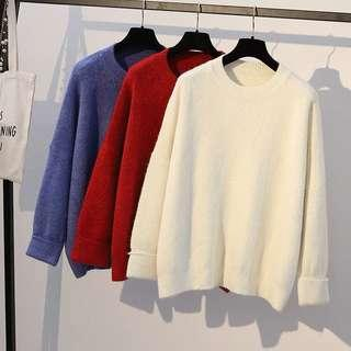 Maroon/white Knitted Sweater