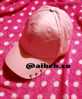 BTS Jin inspired pink cap with three rings