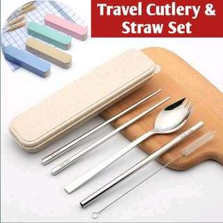 Food Grade 304 Stainless Steel Travel Cutlery with Straw & Brush Set