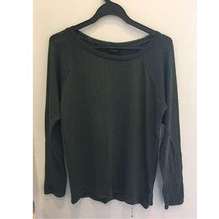 🚚 Topshop Olive Green Long Sleeve Knit Top