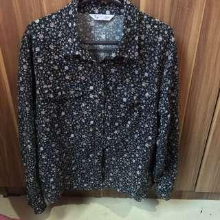 LB Black Floral Pattern Long Sleeve Shirt
