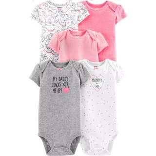 🚚 CAGL198 Carters Baby Girls 5-Pack Dinosaur Original Bodysuits