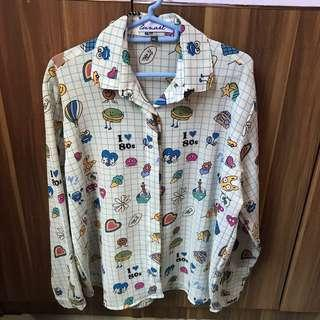 Lunart Dedek Biru Long Sleeve Pattern Shirt