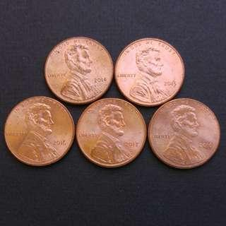 美國林肯美金一仙(2014-2018) 共5枚硬幣