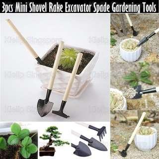 [Kibot]3pcs Mini Shovel Rake Excavator Spade Gardening Tool Set/Gardening Planting Flower Orchid Horticulture Digging Home Office Garden Kids Mini Tree Planting Gardening Tools