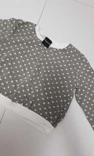 Lovely grey hearts crop sweater
