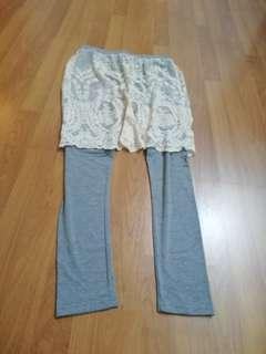 Legging with outer lace skirt layer