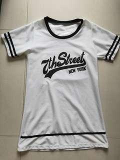 White Baseball Jersey Shift Dress