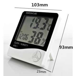🚚 Temperature Humidity Meter Thermometer Hygrometer Clock Digital LCD Alarm Calendar with Battery