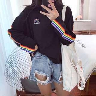 PO: Rainbow Sleeve Striped Sweater