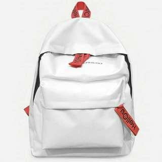 Slogan Detail Canvas Backpack
