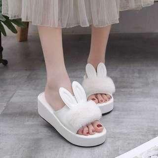 Cute Korean Fuzzy Slippers Wedge Sandals Slip Ons Slides