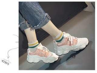 Korean Pink Rubber Shoes Sneakers Sports