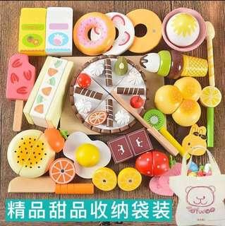 *In Stock* BN Deluxe Wooden Magnetic Cutting Foods Desserts Snacks Afternoon Tea Ice Cream Doughnut Cake Kitchen Cooking Pretend Play Set