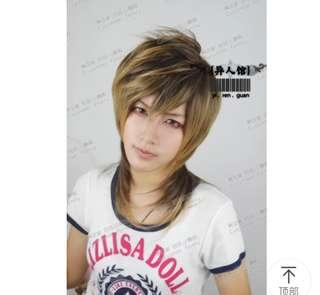 Black mix golden brown prince cut wig (王子头)