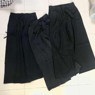 黑色寬腳褲三條